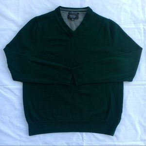 Nordstrom Mens Dark Green Fine Merino Wool Sweater